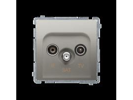 Anténná zásuvka R-TV-SAT priechodná tlm.:10dB saténový, metalizovaný