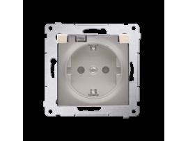 Jedno zásuvka Schuko pre verziu IP44 s uzemnením typu Schuko s clonkami - s tesnením rámčeku - klapka v transparentnej farbe pre rámčeky Nature pre rámčeky Premium (prístroj s krytom) 16A 250V, skrutkové svorky, zlatá matná