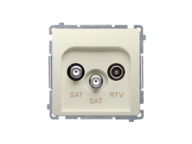 Anténna zásuvka SAT-SAT-RTV dvojitá satelitná tlm.:1dB béžový