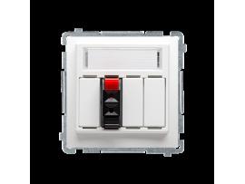 Reproduktorová zásuvka 1-násobná s popisným poľom biela