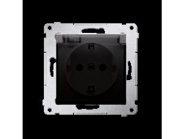Jedno zásuvka Schuko pre verziu IP44 s uzemnením typu Schuko s clonkami - s tesnením rámčeku - klapka v transparentnej farbe pre rámčeky Nature pre rámčeky Premium (prístroj s krytom) 16A 250V, skrutkové svorky, hnedá matná