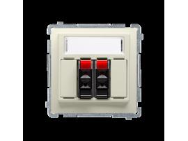 Reproduktorová zásuvka 2-násobné s popisným poľom béžový