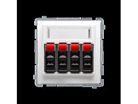 Reproduktorová zásuvka 4-násobné s popisným poľom biela