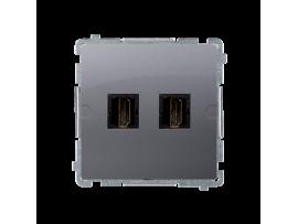 Zásuvka HDMI dvojitá nerez, metalizovaný