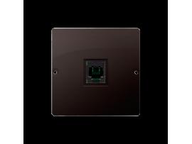 Telefonická zásuvká RJ11 jednoduchá (prístroj s krytom) čokoládový mat. metalizovaný