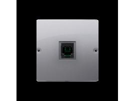 Telefonická zásuvká RJ11 jednoduchá (prístroj s krytom) nerez, metalizovaný