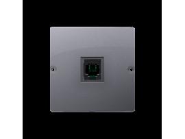 STIAHNUTÝ Z PONUKY telefonická zásuvká RJ11 jednoduchá (prístroj s krytom) strieborná matná