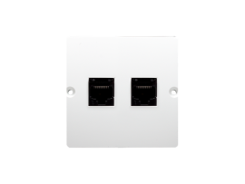 Dvojitá telefonická zásuvka RJ11 (prístroj s krytom) biela