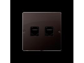 Dvojitá telefonická zásuvka RJ11 (prístroj s krytom) čokoládový mat. metalizovaný