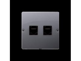 Počitačová zásuvka dvojitá RJ45 kategórie 5e (prístroj s krytom) strieborná matná