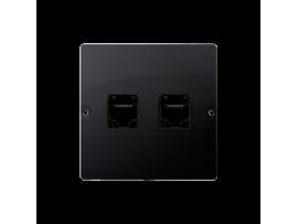 Počitačová zásuvka dvojitá RJ45 kategórie 5e (prístroj s krytom) grafit mat. metalizovaný