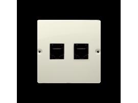 Počitačová zásuvka dvojitá RJ45 kategórie 5e (prístroj s krytom) béžový