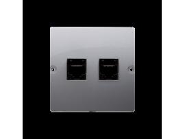 Dvojitá telefonická zásuvka RJ11 (prístroj s krytom) nerez, metalizovaný