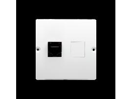 Telefonická zásuvká RJ12 jednoduchá (prístroj s krytom) biela