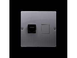Počitačová zásuvka RJ45 jednoduchá, kategórie 5e (prístroj s krytom) strieborná matná