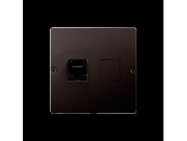 Počitačová zásuvka RJ45 jednoduchá, kategórie 5e (prístroj s krytom) čokoládový mat. metalizovaný
