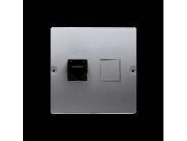 Telefonická zásuvká RJ12 jednoduchá (prístroj s krytom) nerez, metalizovaný