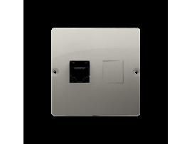 Počitačová zásuvka RJ45 jednoduchá, kategórie 5e (prístroj s krytom) saténový, metalizovaný