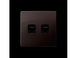 Počítačová zásuvka RJ45 kategórie 5e + telefonické RJ11 (prístroj s krytom) čokoládový mat. metalizovaný