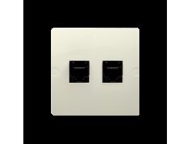 Zásuvka telefonická dvojitá RJ12 (prístroj s krytom) béžový
