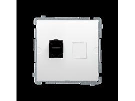 Zásuvka počítačová jednoduchá RJ45 kategórie 6  s protiprachovou clonou (prístroj s krytom) biela