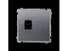 Zásuvka počítačová jednoduchá RJ45 kategórie 6  s protiprachovou clonou (prístroj s krytom) strieborná matná