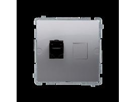 Zásuvka počítačová jednoduchá RJ45 kategórie 6  s protiprachovou clonou (prístroj s krytom) nerez, metalizovaný
