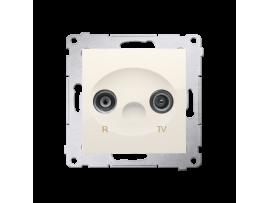 Anténna zásuvka R-TV ukončená do priechodných zásuviek tlm.:10dB krémová