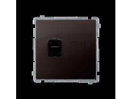 Jednoduchá tienená počítačová zásuvká RJ45 kategórie 6 s protiprachovou clonou (prístroj s krytom) čokoládový mat. metalizovaný