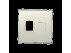 Jednoduchá tienená počítačová zásuvká RJ45 kategórie 6 s protiprachovou clonou (prístroj s krytom) béžový