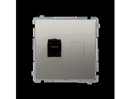 Jednoduchá tienená počítačová zásuvká RJ45 kategórie 6 s protiprachovou clonou (prístroj s krytom) saténový, metalizovaný