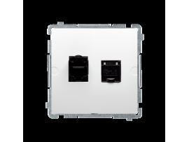 Dvojitá počítačová zásuvka RJ45 kategórie 6 s protiprachovou clonou (prístroj s krytom) biela