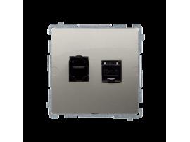 Dvojitá počítačová zásuvka RJ45 kategórie 6 s protiprachovou clonou (prístroj s krytom) saténový, metalizovaný