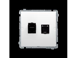 Dvojitá tienená počítačová zásuvka RJ45 kategórie 6 s protiprachovou clonou (prístroj s krytom) biela