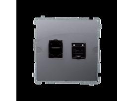 Dvojitá tienená počítačová zásuvka RJ45 kategórie 6 s protiprachovou clonou (prístroj s krytom) strieborná matná