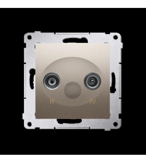 Anténna zásuvka R-TV ukončená do priechodných zásuviek tlm.:10dB zlatá matná