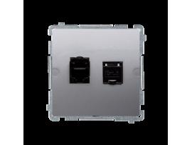 Dvojitá tienená počítačová zásuvka RJ45 kategórie 6 s protiprachovou clonou (prístroj s krytom) nerez, metalizovaný