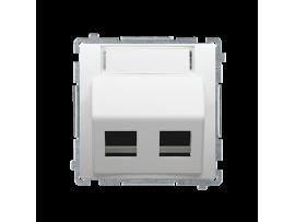 Kryt teleinformačních zásuviek na Keystone šikmé dvojité s popisným poľom. montáž krytu na pätky alebo na skrutky biela