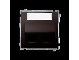 Kryt teleinformačních zásuviek na Keystone šikmé dvojité s popisným poľom. montáž krytu na pätky alebo na skrutky čokoládový mat. metalizovaný
