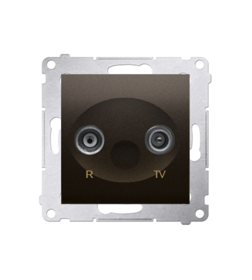 Anténna zásuvka R-TV ukončená do priechodných zásuviek tlm.:10dB hnedá matná