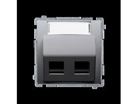 Kryt teleinformačních zásuviek na Keystone šikmé dvojité s popisným poľom. montáž krytu na pätky alebo na skrutky nerez, metalizovaný