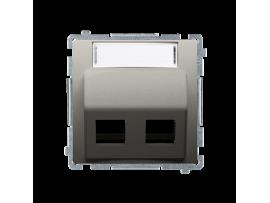 Kryt teleinformačních zásuviek na Keystone šikmé dvojité s popisným poľom. montáž krytu na pätky alebo na skrutky saténový, metalizovaný