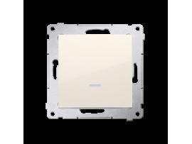 Krížovy spínač s orientačným podsvietením LED, radenie č. 7 So bez piktogramu (prístroj s krytom) 10AX 250V, pružinové svorky, krémová