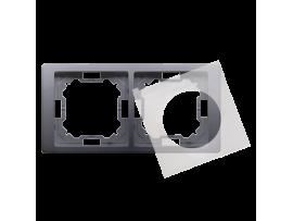 Rámček 2 - násobný IP44 strieborná matná