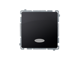 Jednopólovy spínač s orientačným podsvietením nevymeniteľný LED farba: modrá (prístroj s krytom) 10AX 250V, pružinové svorky, grafit mat. metalizovaný