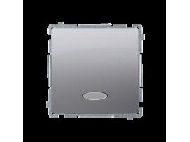 Striedavý prepínač s orientačným podsvietením bez piktogramu nevymeniteľný LED farba: modrá (prístroj s krytom) 10AX 250V, pružinové svorky, strieborná matná