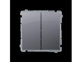 Striedavý prepínač dvojitý, radenie č. 6+6 bez piktogramu (prístroj s krytom) 10AX 230V, skrutkové svorky, strieborná matná