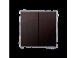 Striedavý prepínač dvojitý, radenie č. 6+6 (prístroj s krytom) 10AX 230V, skrutkové svorky, čokoládový mat. metalizovaný