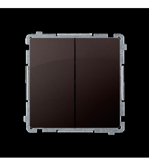 Sériový spínač s orientačným podsvietením nevymeniteľný LED farba: modrá (prístroj s krytom) 10AX 250V, pružinové svorky, čokoládový mat. metalizovaný