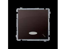 Striedavý prepínač s orientačným podsvietením nevymeniteľný LED farba: modrá (prístroj s krytom) 10AX 250V, pružinové svorky, čokoládový mat. metalizovaný